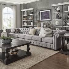 Chesterfield Sofa Outlet Shop For Knightsbridge Grey Linen Oversize Extra Long Tufted