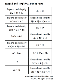 free printable math worksheets variables expressions expanding and simplifying single brackets matching pairs teaching