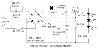 led emergency light circuit diagram without transformer 28