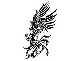 nice black tribal phoenix tattoos design