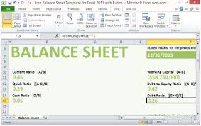Excel Balance Sheet Template Free Free Balance Sheet Template For Excel 2013 With Ratios