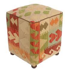 Handmade Ottoman Millwood Pines Talarico Kilim Upholstered Handmade Ottoman