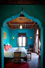 Bedroom Design With Moroccan Theme Moroccan Themed Bedroom With Wooden Ceiling And Blue Wall Colors