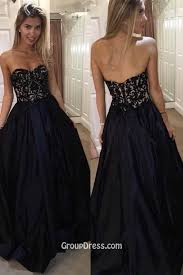 strapless sweetheart neckline a line venice lace navy satin prom