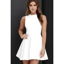 white skater skirt dress