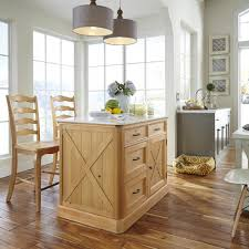 kitchen islands carts islands utility tables the home depot country lodge pine kitchen island with quartz top and two bar stools
