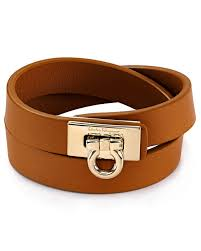 leather bracelets for men ferragamo gancini double wrap leather bracelet in brown for men lyst