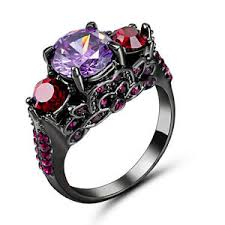 black and purple engagement rings 5 80 ct purple amethyst engagement ring size 8 10kt black gold