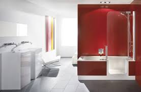 contemporary apartment red bathroom design with white gloss vanity