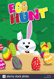 easter egg hunt eggs egg hunt invitation easter bunny with colored eggs on a desk and