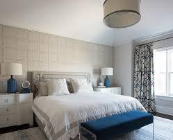 Light Blue And Silver Bedroom Light Gray Headboard With Silver Greek Key Nailhead Trim