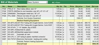 Bom Template Excel Right Hvac Software For Estimates Proposals Parts