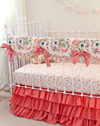 blush pink and coral crib bedding pink gold nursery