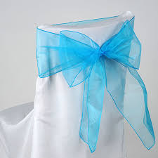 turquoise chair sashes organza chair sash turquoise pack of 10 8 inches x 108