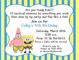 birthday invites astonishing spongebob birthday invitations ideas