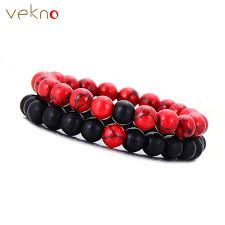 red stone bracelet images Vekno 8mm natural beaded bracelet set couple jewelry red black jpg
