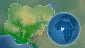 nigeria physical map nigeria shape animated on the physical map of the globe stock
