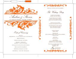 program fan template orange wedding program fan template vintage design