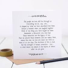 sympathy bereavement loss card by bespoke verse