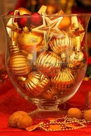 ornaments in glass vase table decoration stock photo
