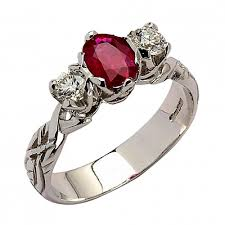 celtic rings with images Ruby diamond white gold celtic ring 18k gold jpg