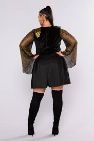plus size halloween tights warrior glam two piece costume black