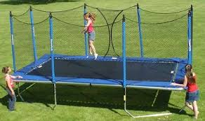 Backyard Gymnastics Equipment Huge Rectangle Trampoline Olympics Size Backyard Rectangle