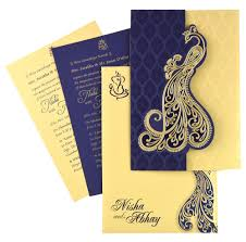 indianwedding cards nds53 blue color shimmery finish paper designer multifaith