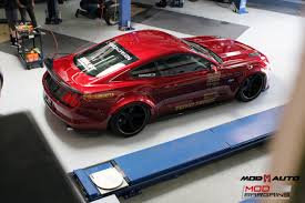 widebody muscle cars ruby red widebody s550 ford mustang gt visits modauto