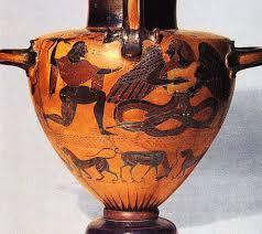 Greek Black Figure Vase Painting Titans And Zeus