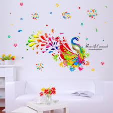 online get cheap peacock wall stickers aliexpress com alibaba group 60 90cm new colorful peacock removable wall stickers decal brand new living home decor for kids rooms