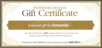 online gift certificates housewarming gift certificates for interior design printable