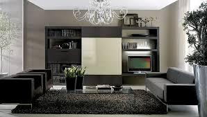 living room elegant black leather armchair gray fabric modern