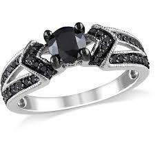sterling silver engagement rings walmart 1 carat t w black sterling silver engagement ring
