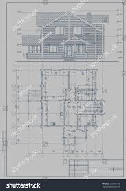 architectural blueprint wooden building glued beams stock vector
