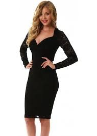 goddess london black lace pencil dress with long sleeves