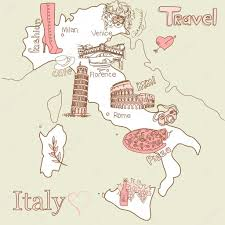 best tourist map of creative map of italy all the best tourist attractions stock