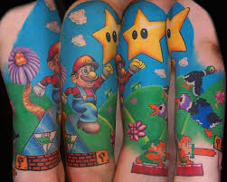mario bross tattoo game design on arm tattoo design ideas