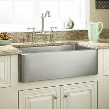 decorating rectangle single bowl apron sink on white kitchen