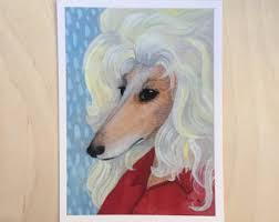 afghan hound fabric blonde afghan hound etsy