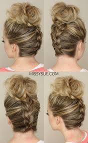 large hair pleats upside down braid to bun