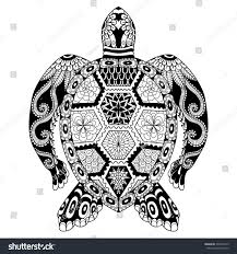 drawing zentangle turtle coloring page shirt stock vector