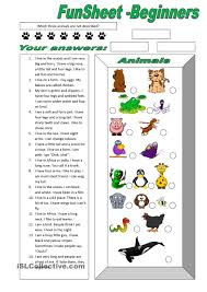 funsheet for beginners animals free esl worksheets animals