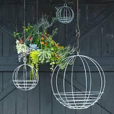 hanging planters zinc sphere hanging basket terrain