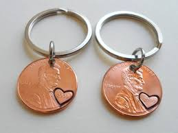 7 year anniversary gift keychain set 2009 keychains with heart around year 7