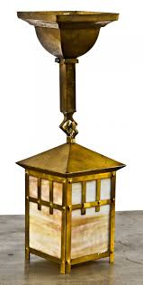 Yellow Light Fixture Original Early 20th Century Antique American Arts U0026 Crafts Single