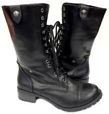 womens black combat boots size 11 soda block low heel 3 4 in to 1 1 2 in boots for ebay