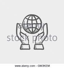 two hands holding globe icon drawn in chalk stock vector art