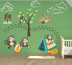 french bull jungle wall decals kids stickers city candy loversiq baby nursery large size popular items for monkey wall stickers etsy decal camping