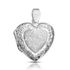 engraved pendant i you engraved flower heart locket pendant 925 sterling